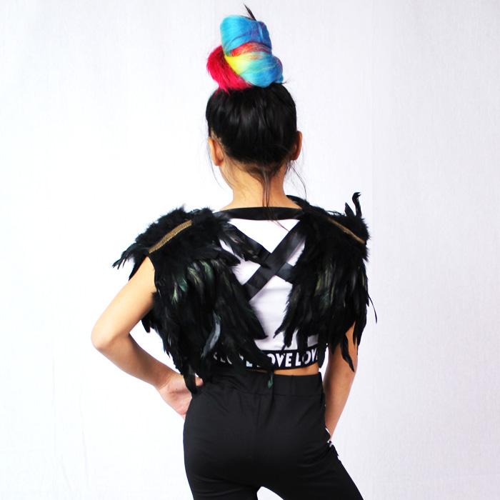営業日は正午まで当日発送 送料無料 ジャケット上着 羽 フェザー 羽根 ベスト グログランなのでサイズ調整OK 女の子 キッズ ブラック フリーサイズ 110/120/130/140/150/160 ダンサー キッズ ダンス 衣装 HIPHOP 子供 ヒップホップ