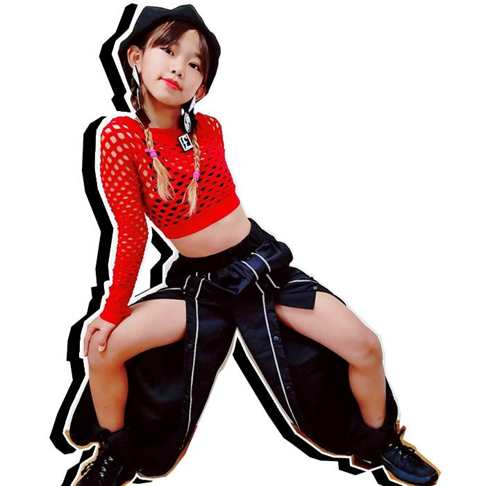 取寄せ納期約2〜3週間 スリットパンツ スリットを自由に調整できる! ボトムス フロントスリット 前空き ボタンパンツ ロングパンツ ハイウェスト ブラック レディス ガールズ〜キッズ ジュニア ヒップホップ 女の子 ダンス衣装 ワイドシルエット ジョガーパンツ