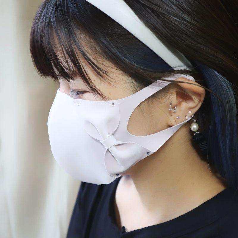 マスク リボンラインストーン