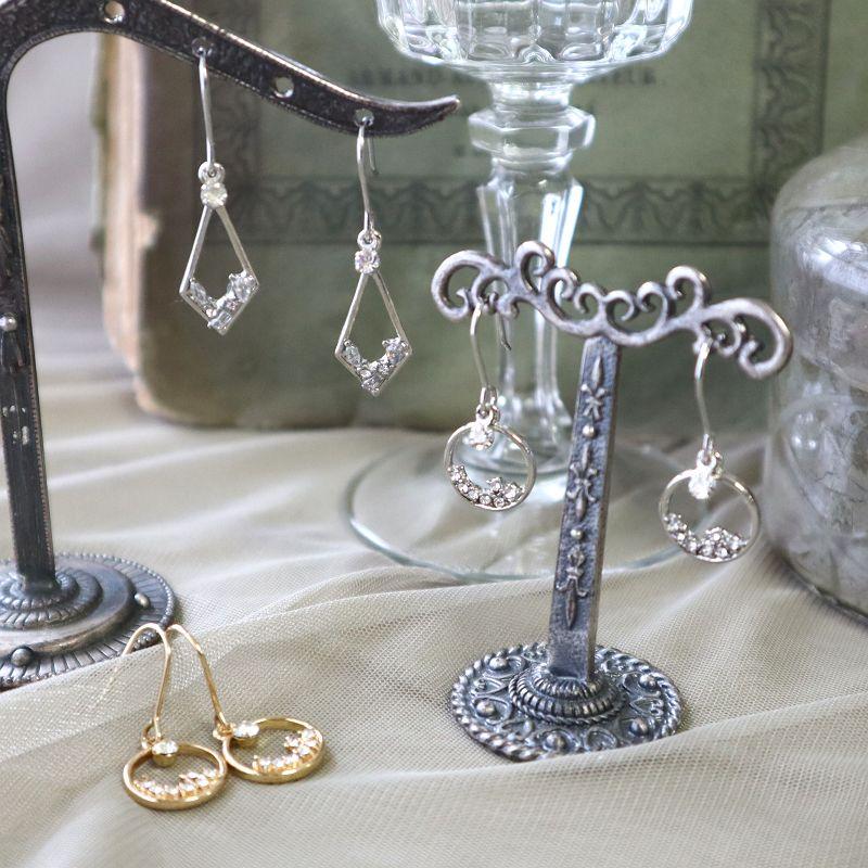 チタンピアス サークル&ダイヤモンド グラスストーン