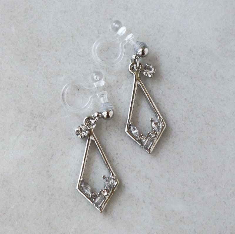 ノンホールイヤリング サークル&ダイヤモンド グラスストーン