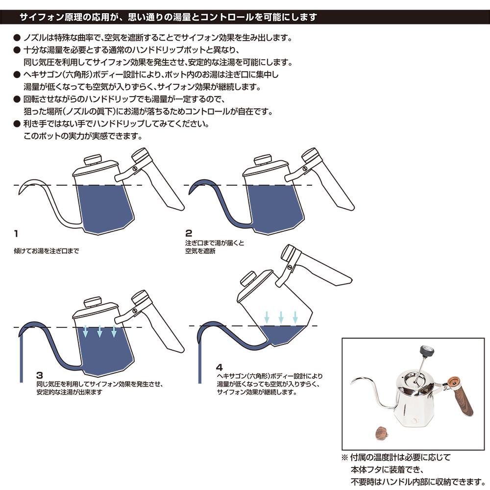 ヘキサポット 600ml (シルバー) HEXA POT