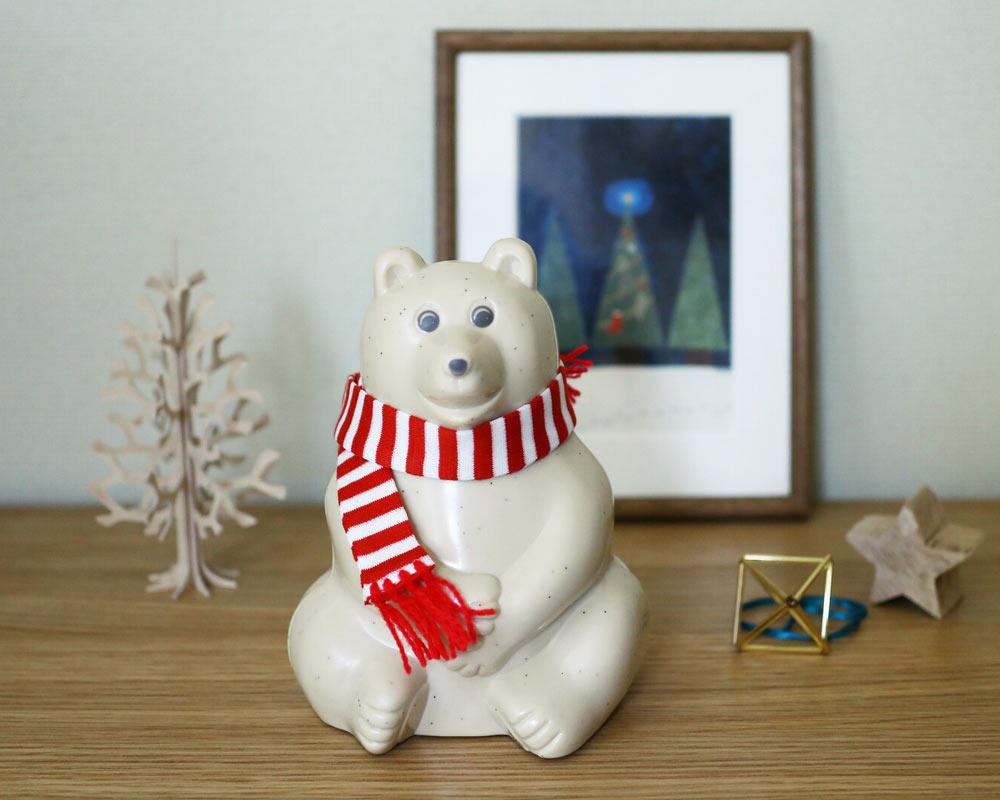 MK Tresmer | Polar Bear Money Box with Muffler 2021 シロクマ貯金箱 限定 ボーダーマフラー付き
