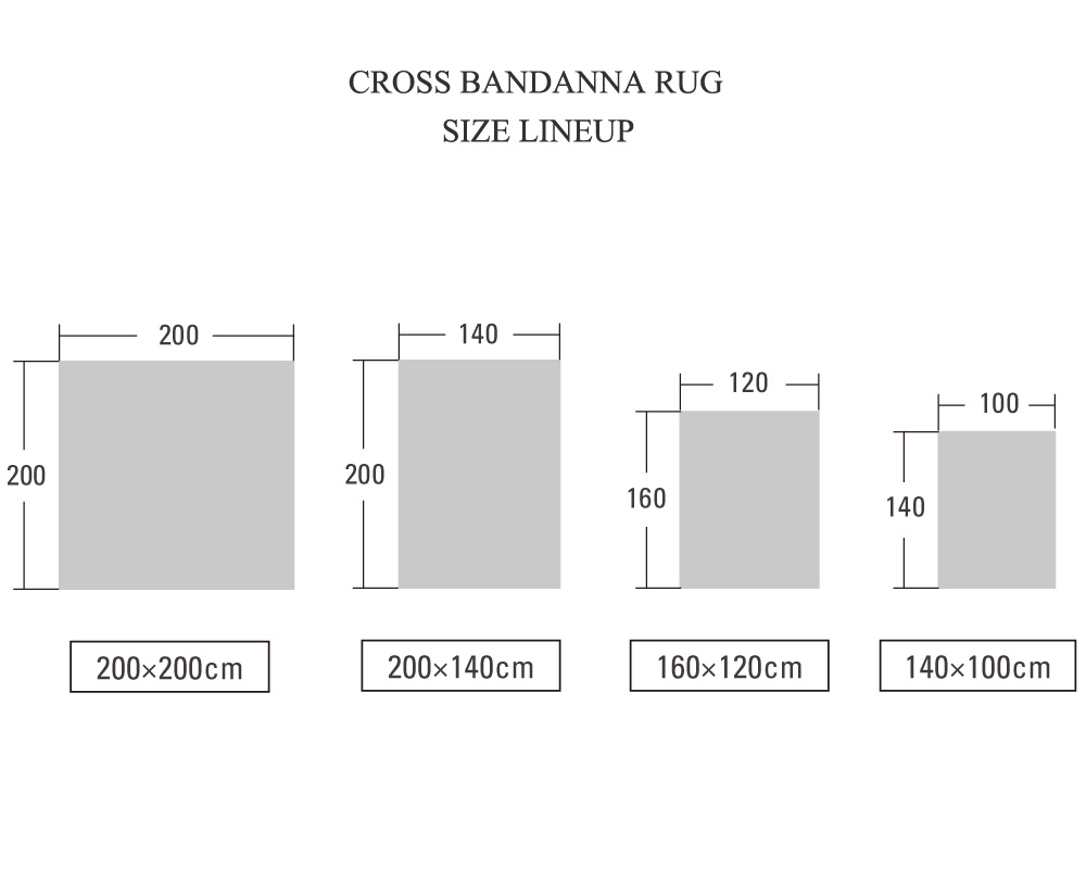 DETAIL   Cross Bandana Rug Burgundy [4size] クロスバンダナラグ バーガンディ