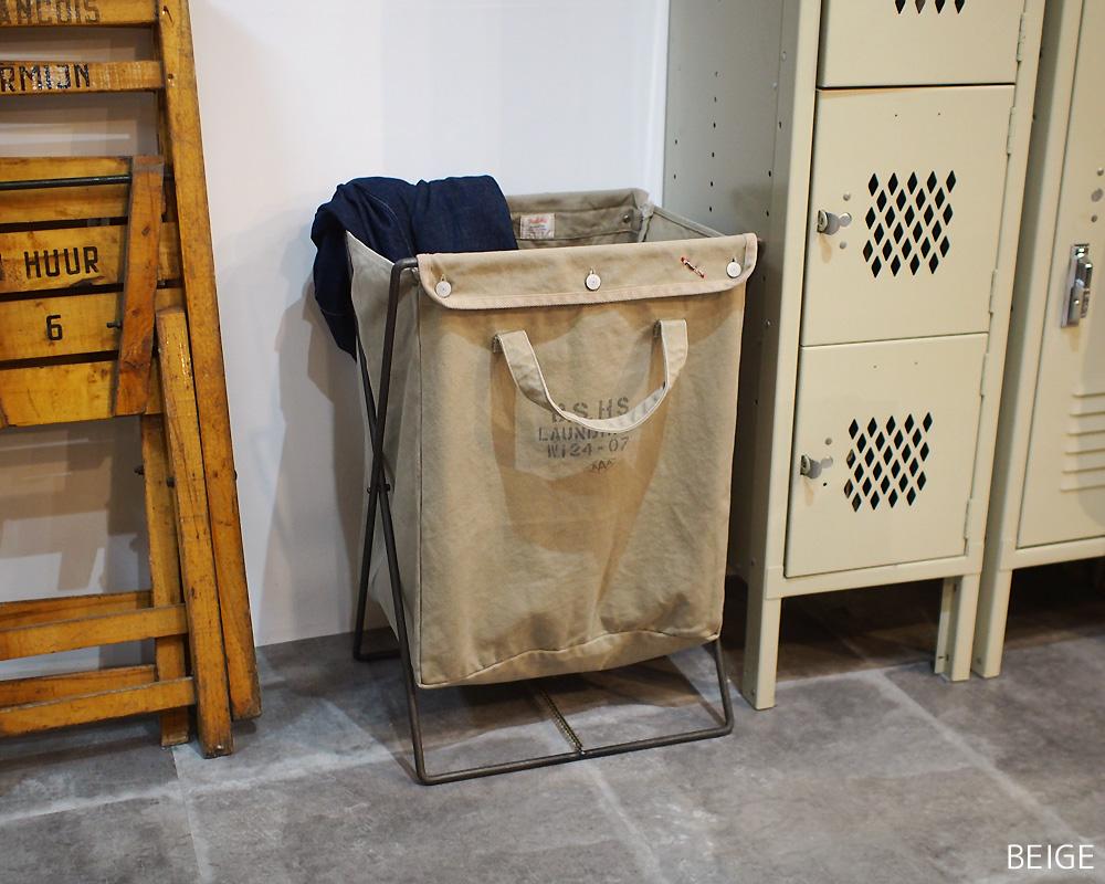 BasShu | Laundry Bag with Iron Frame Khaki ランドリーバッグ フレーム付 カーキ
