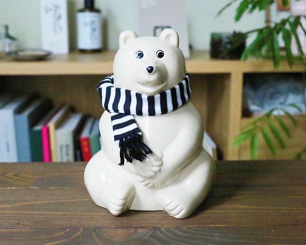 MK Tresmer | Polar Bear Money Box with Muffler 2020 シロクマ貯金箱 限定 ボーダーマフラー付き