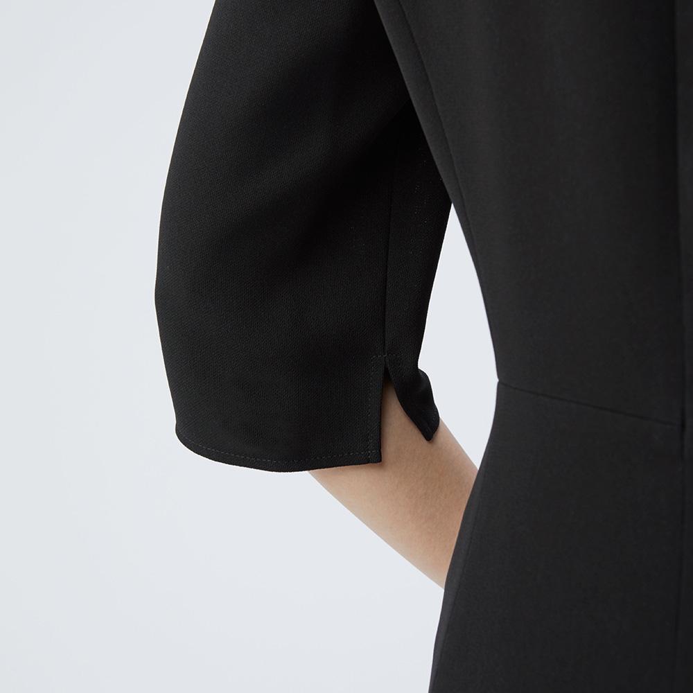 [商品番号1003400]リボン付きノーカラージャケット×フレアーラインワンピース
