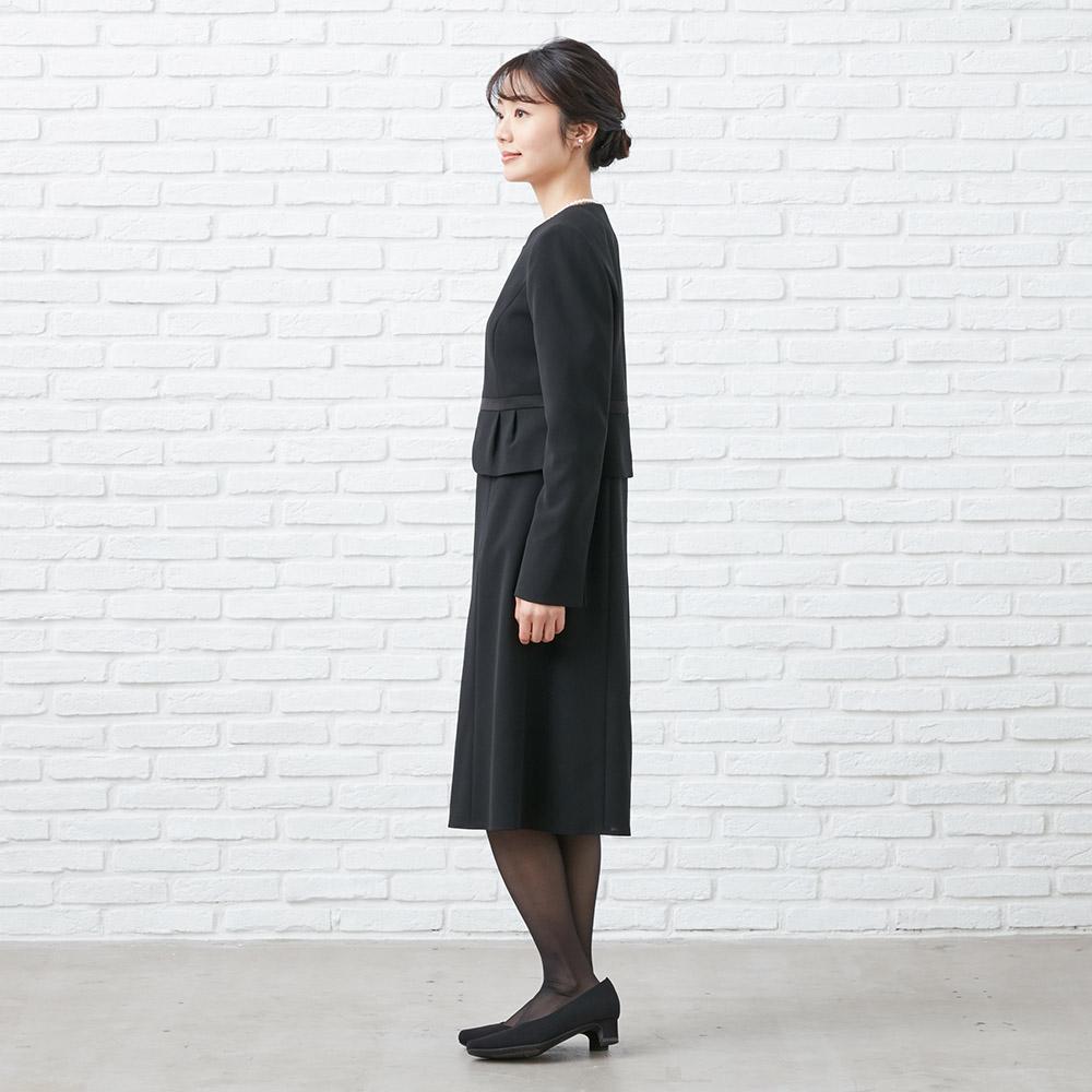 [商品番号1003405]ノーカラータックジャケット×フレアラインワンピース