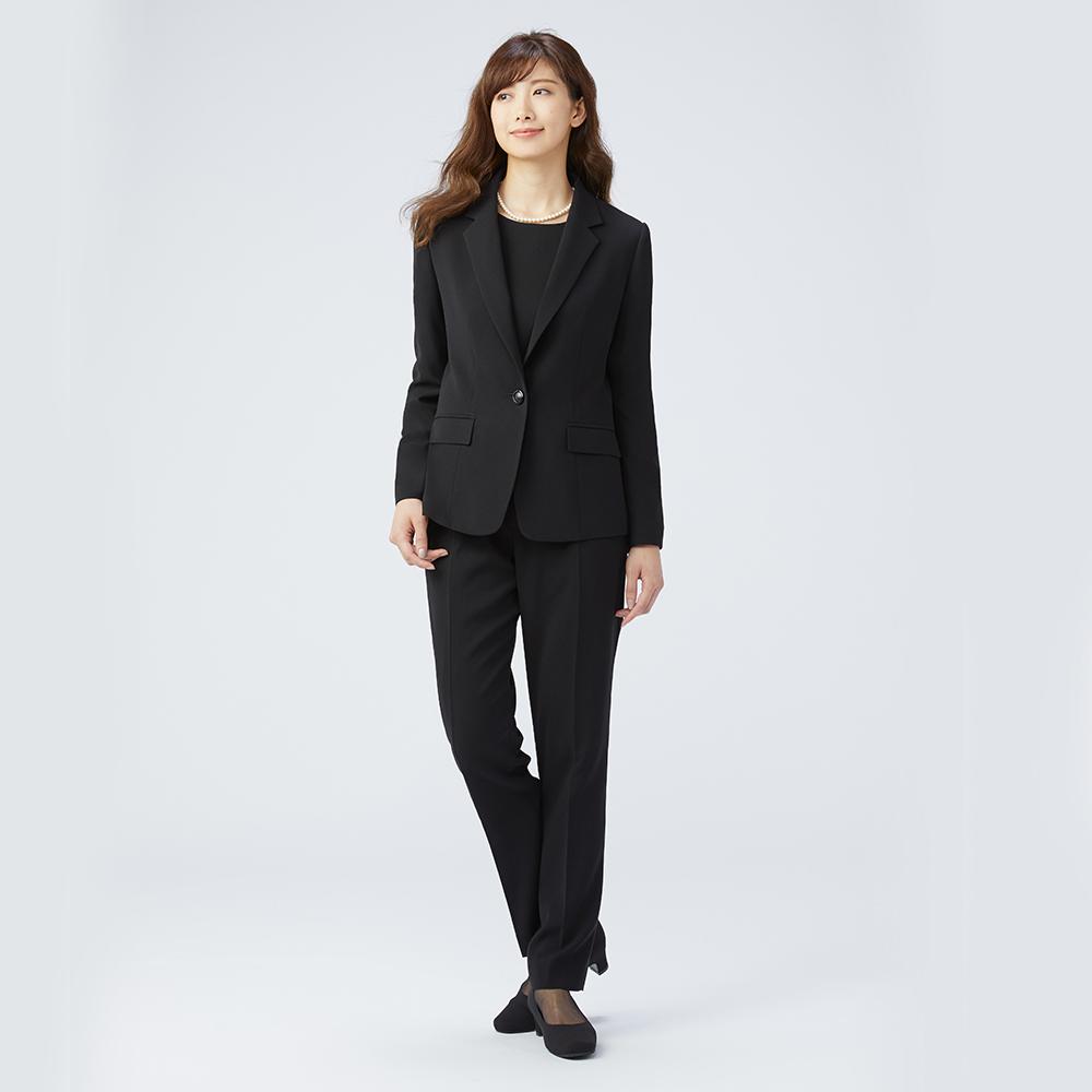 [商品番号1008400]ジャケット×ブラウス×パンツ 3点スーツセット