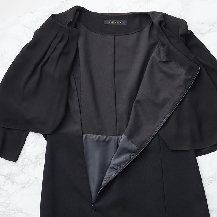 [商品番号1001301]羽織風前開きブラックフォーマルワンピース 40%オフ