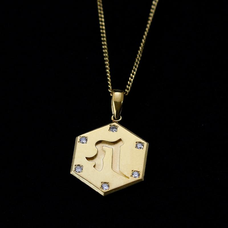 【六字明王】梵字ペンダントトップ ダイヤモンド入り18金仕上げ(チェーンなし)