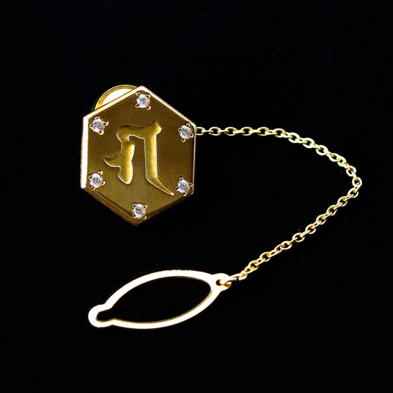 【六字明王】梵字ラぺルピン(ピンバッジ)ダイヤモンド入り18金仕上げ