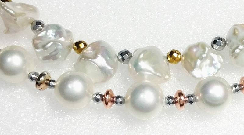 本真珠&                      <br>淡水ケシパール2連ネックレス