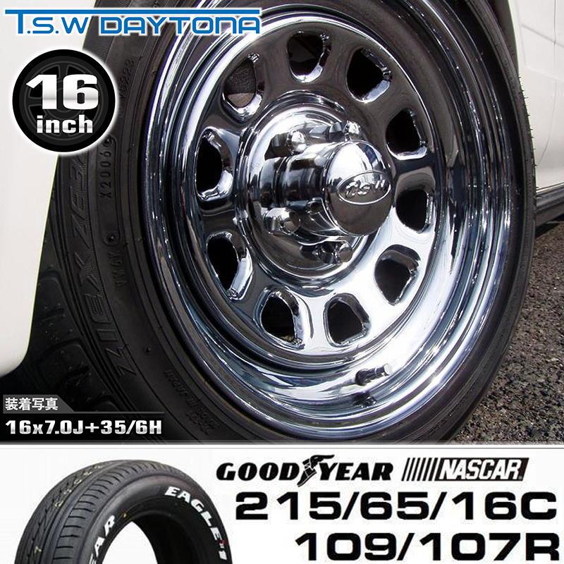 T.S.W DAYTONA16X7.0J+35【5H/6H】 +GOODYEAR NASCAR ホワイトレター 215/65/16C 109/107R