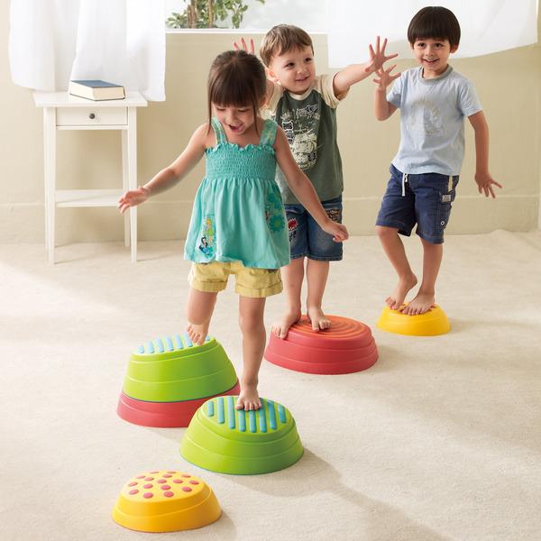 スポーツ遊具 子どもの運動 バランス感覚の向上に 石飛び遊びが楽しめる レインボーバランスストーン 6個組