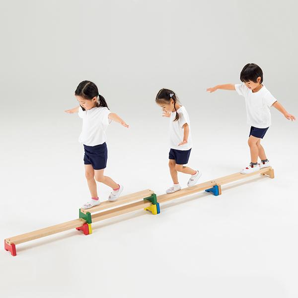 子どものバランス運動に コンパクトな平均台セット 室内用 カラー平均台(5本組)