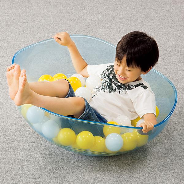 ボールでゆらゆら バランス感覚遊具 ロッキングボール・クリアー