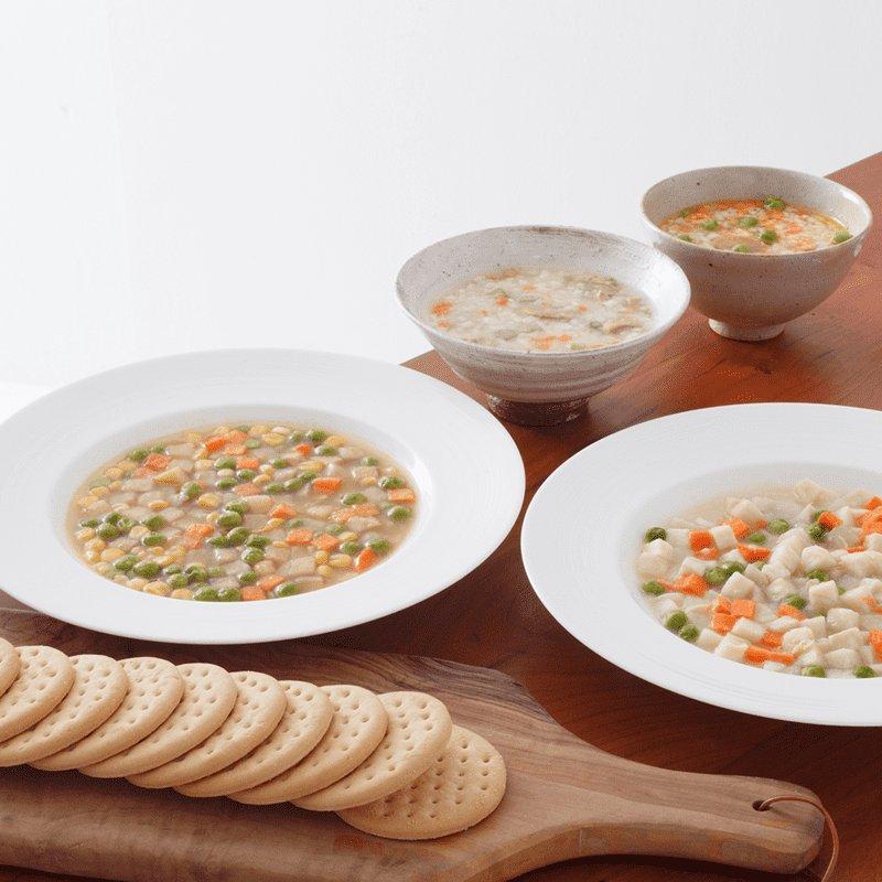 【超・長期保存】サバイバルフーズ[大缶]クラッカーとシチュー2種類(野菜+チキン)[3缶セット] 非常食・保存食