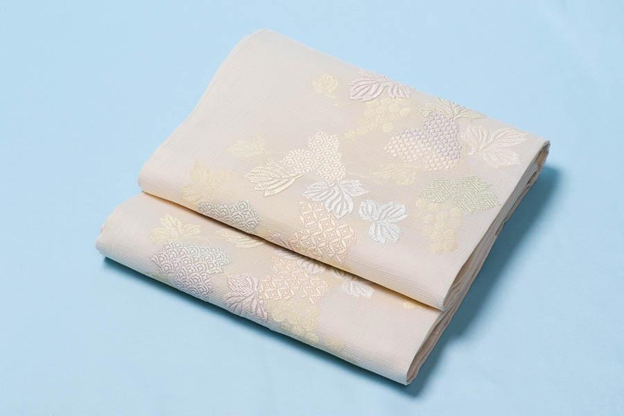 着物 袋帯 正絹 袋帯 夏帯 夏着物 西陣 ぶどう 白 織 付下げ 小紋 無地