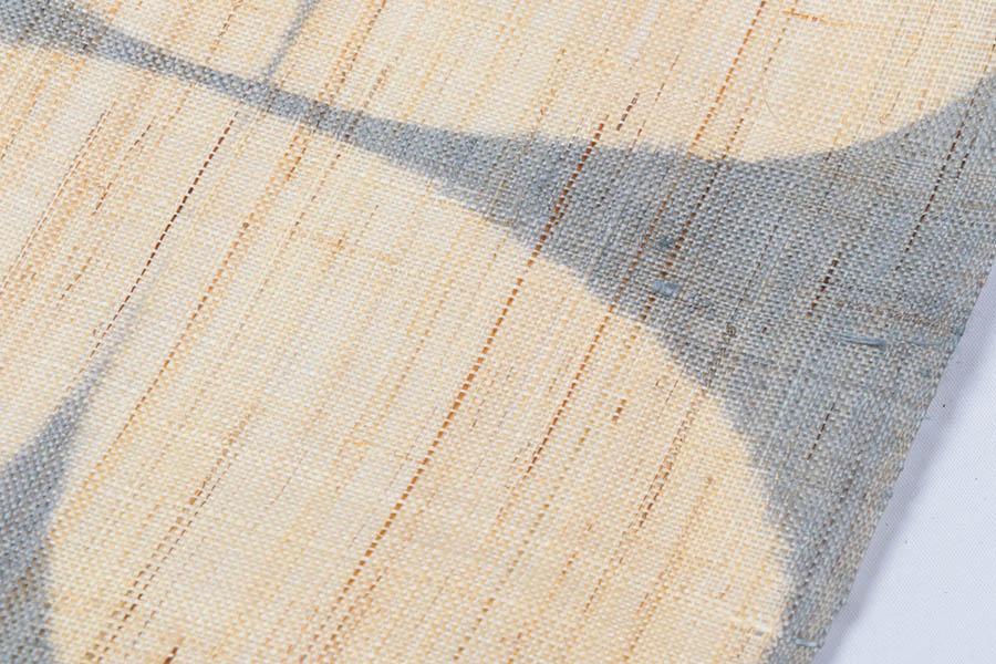 着物 名古屋帯 新品 反物 夏帯 夏用 麻 野口 板絞り 四葉のクローバー