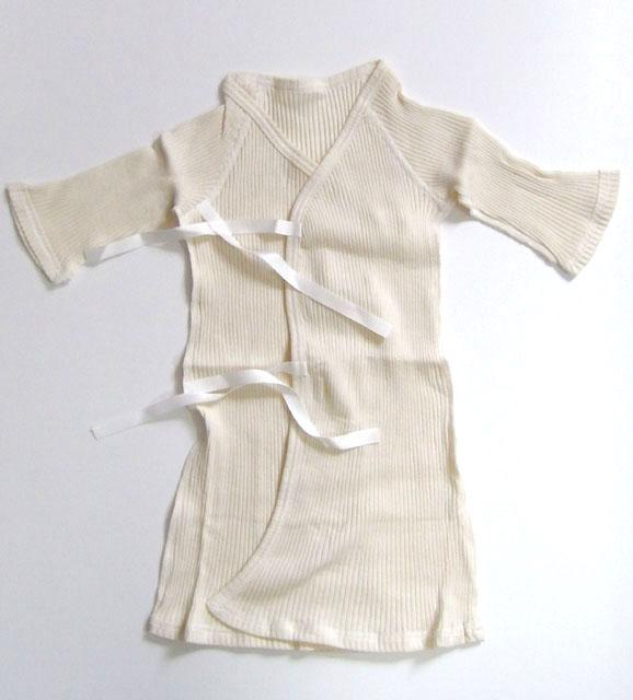 <新生児用>長袖長肌着 リブ 癒しのコットンシリーズ ※在庫限り終売