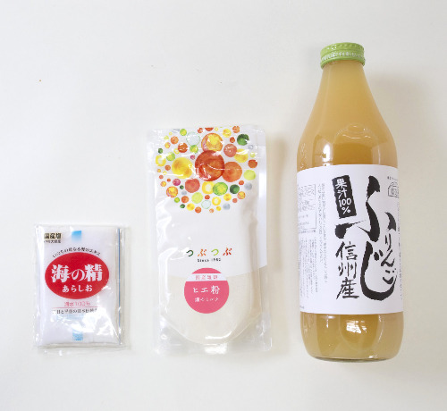 【5%OFF】つぶプルクリームセット 3点(ヒエ粉・ふじりんごジュース・自然海塩)