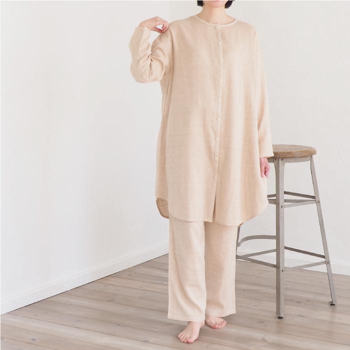 ダブルガーゼのワンピースパジャマ 上下セット