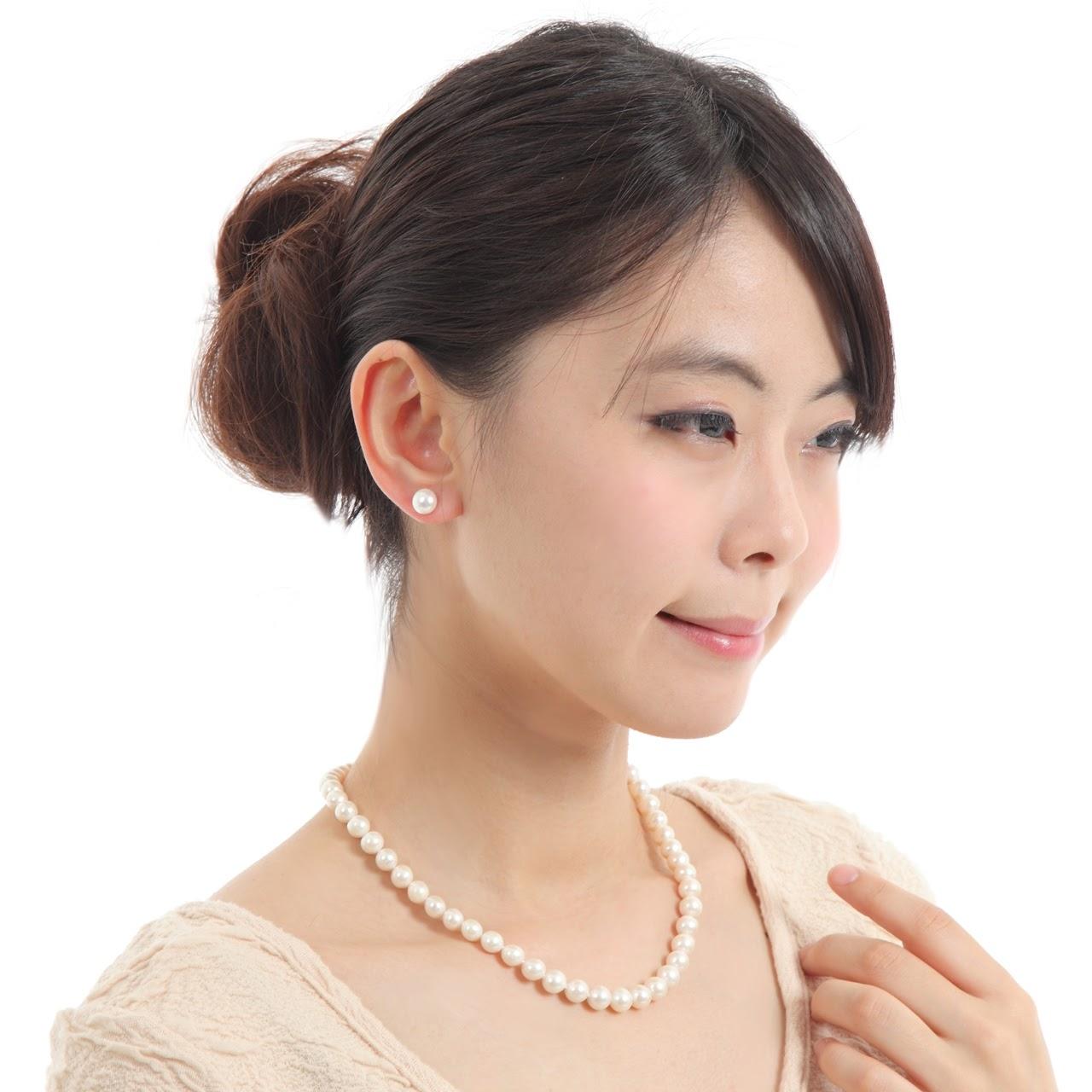 冠婚葬祭 パール 大粒 7.5-8mm珠使用 定番42-43cm 冠婚葬祭向け本真珠ネックレス&ピアスセット 大粒 8mm