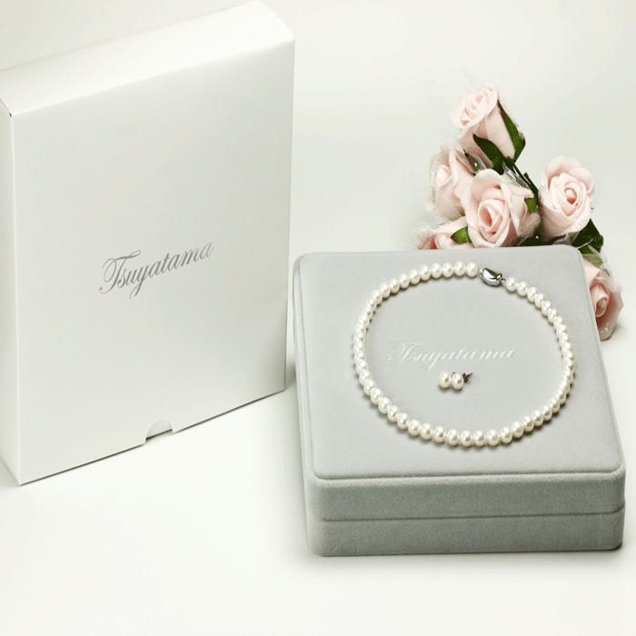 本真珠ネックレス&ピアスorイヤリングセット 7.5-8.0mm ハートキーパーボックス付