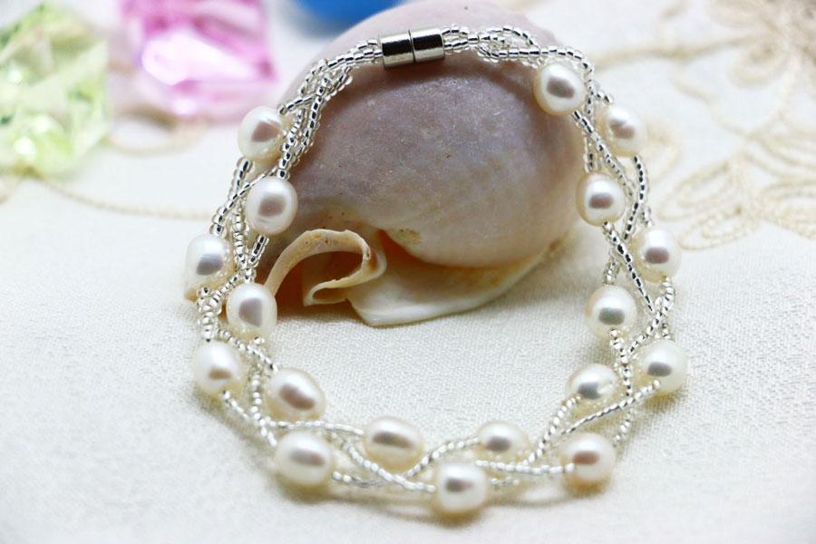 真珠 「幸運の二連パールブレスレット」 ホワイト