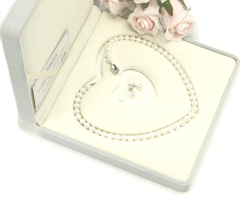 冠婚葬祭用 本真珠ネックレス&ピアスorイヤリングセット 7.0-7.5mm ハートキーパーボックス付