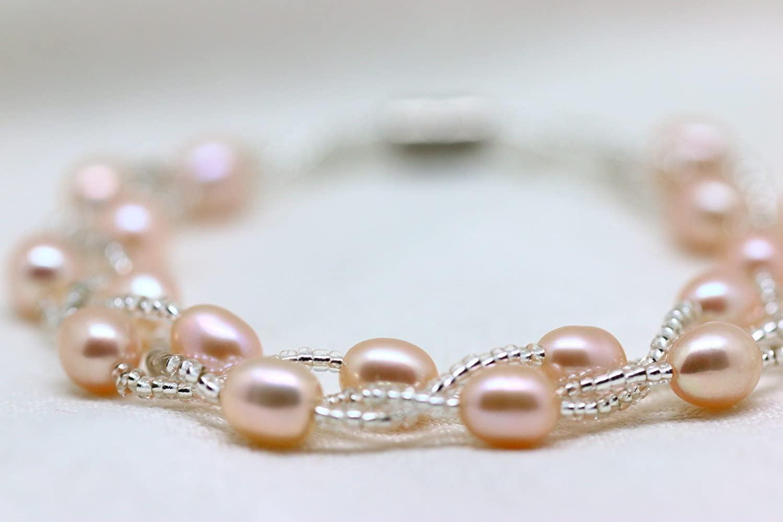 真珠 「幸運の二連パールブレスレット」イエローピンク