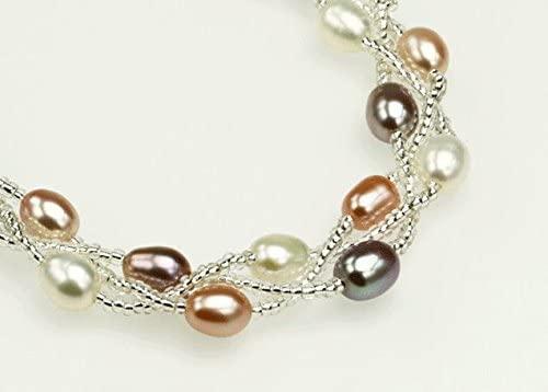 真珠 「幸運の二連パールブレスレット」マルチカラー