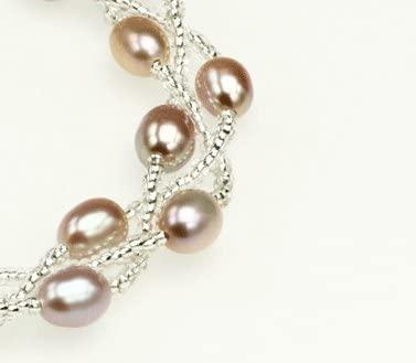 真珠 「幸運の二連パールブレスレット」グレーパープル