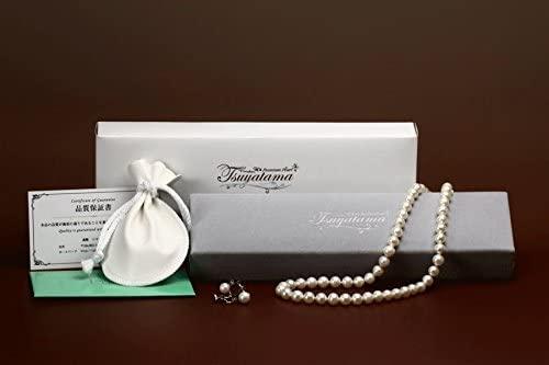 ゆったり50cm 大粒8mm珠使用 つやたま 本真珠ネックレス&ピアスorイヤリングセット