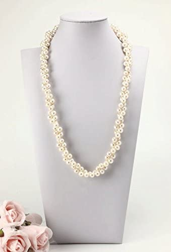約8mm珠使用 ラウンドの135cm本真珠ロングネックレス&ピアスorイヤリングセット オールノットネックレス