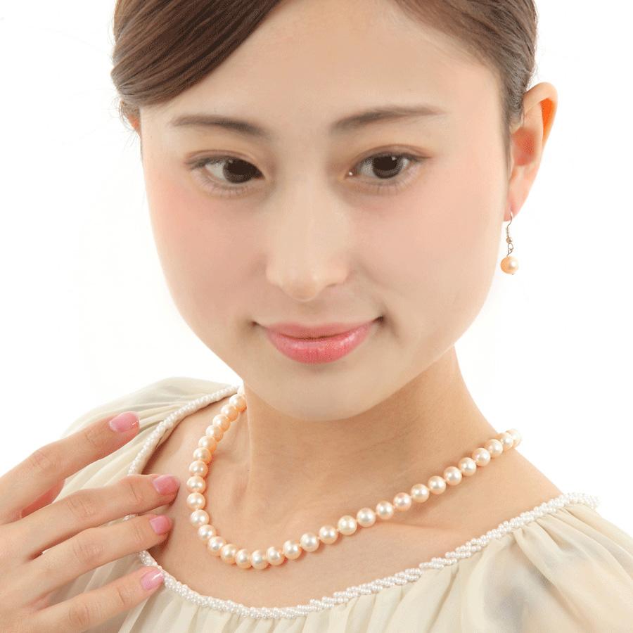 本真珠ネックレス&ピアスorイヤリングセット ピンクカラー 7.5-8.0mm ハートキーパーボックス付