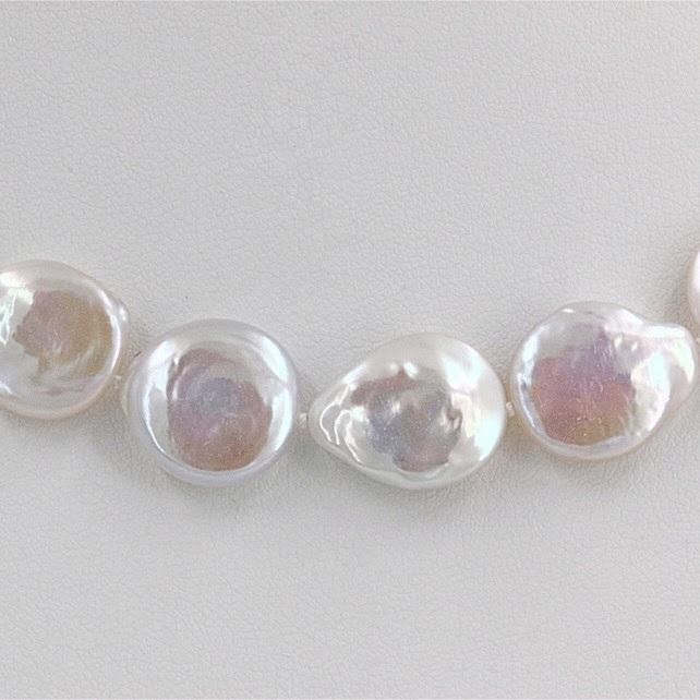 コインパールネックレス ホワイトカラー 円盤型 12.5-13.5mm