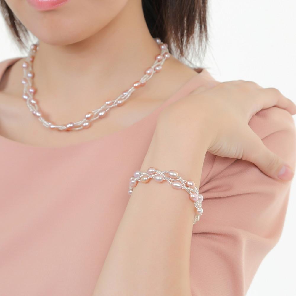 本真珠「幸運の二連パールネックレス グレーパープル」(フォーマル 結婚式 卒業入学 冠婚葬祭 七五三)
