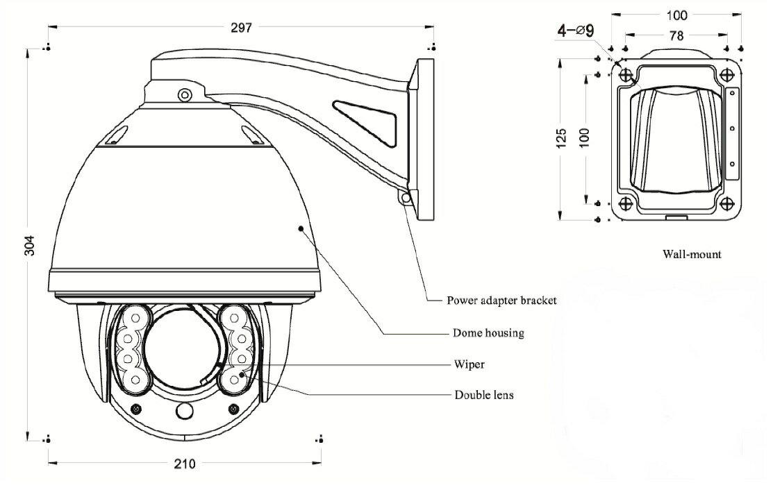 【SA-50913】(HD-SDI)220万画素 屋外防雨仕様(IP66)スピードドームPTZカラー(SA50914のカメラのみ)
