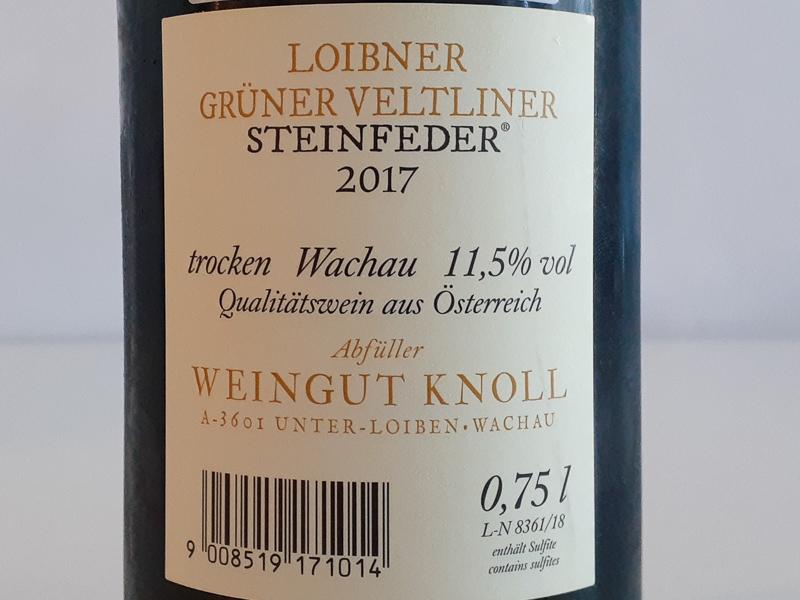2017年 グリューナー・ヴェルトリナーー シュタインフェーダー ヴァイングート・クノール 750ml オーストリア ヴァッハウ 白ワイン