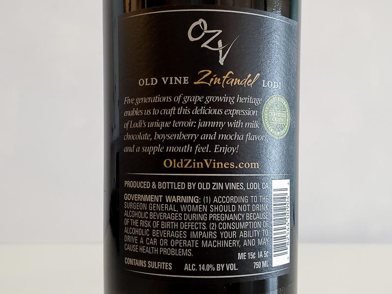 オー・ジーヴィー(OZV) オールド・ヴァイン・ジンファンデル ロダイ 2018年 750ml アメリカ カリフォルニア セントラル・ヴァレー 赤ワイン サステナブル