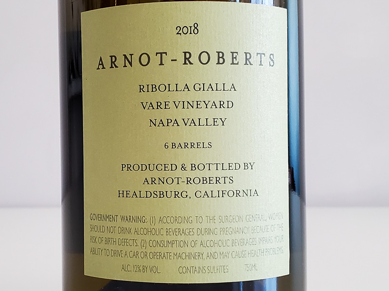 アルノー・ロバーツ リボッラ・ジャッラ ヴェア・ヴィンヤード 2018年  ナパ・ヴァレー750ml アメリカ カリフォルニア 白ワイン