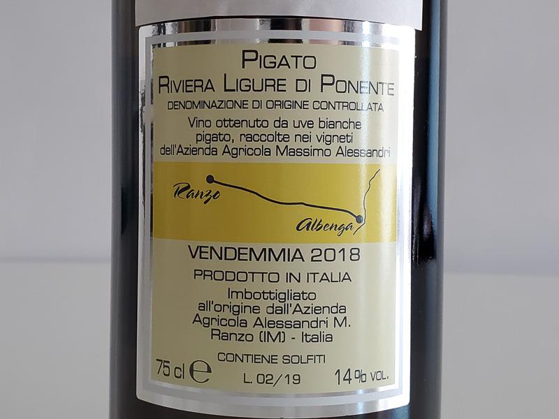 2018年 ピガートコスタ・デ・ヴィーニェ マッシモ・アレッサンドリ 750ml イタリア リグーリア リヴィエーラ・リグレ・ディ・ポネンテ  白ワイン