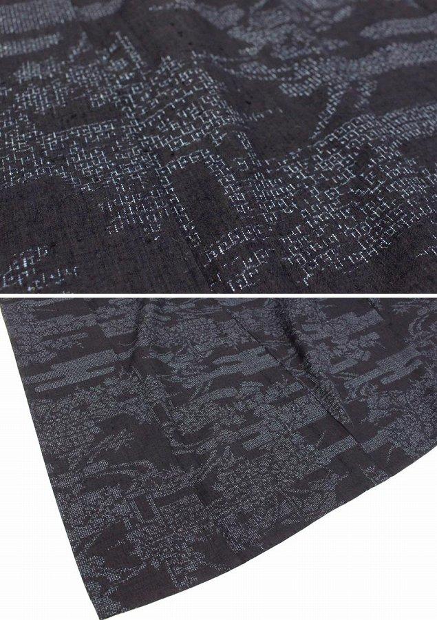 【中古】 本場結城紬 単衣 証紙 着物 裄65 リサイクル着物 正絹 袷 重要無形文化財 紺
