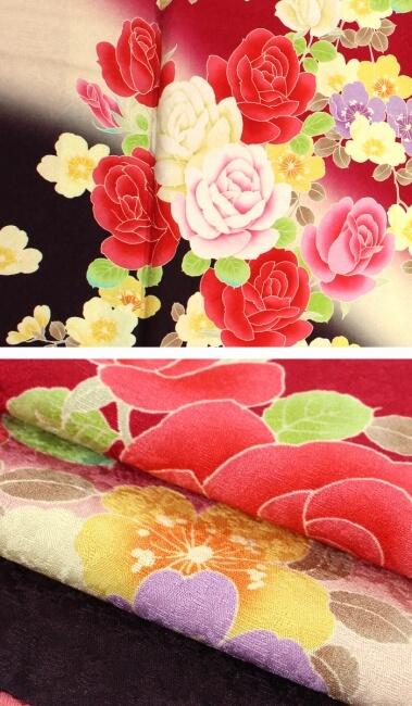 【振袖30%オフ】【中古】 振袖 レディース フォーマル 正絹 裄68 リサイクル 赤 薔薇 桜
