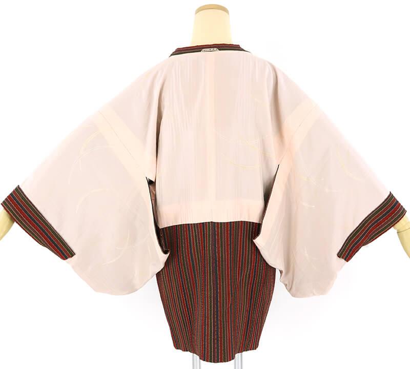 【中古】 縦縞のふんわりとした道行コート リサイクル 正絹 レディース 防寒 ブラウン 裄64cm  あす楽対応