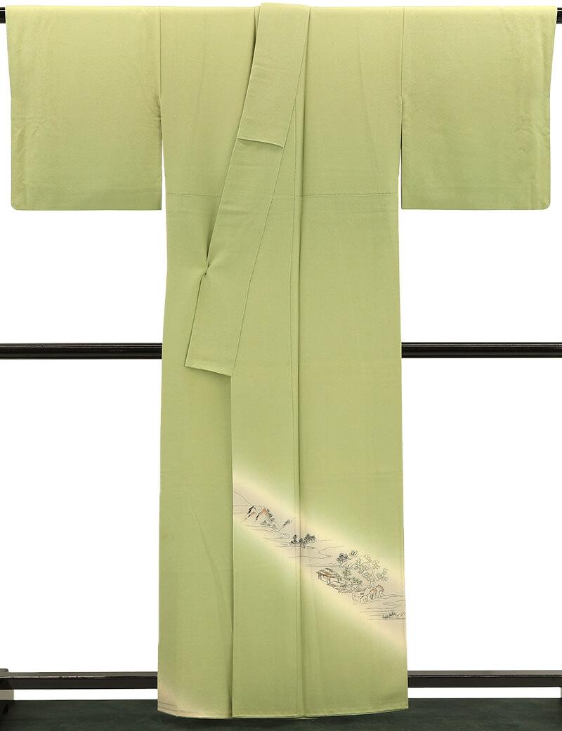 【中古】 シンプルな柄使いの付け下げ リサイクル 正絹 袷 フォーマル レディース グリーン 裄67cm  送料無料  あす楽対応