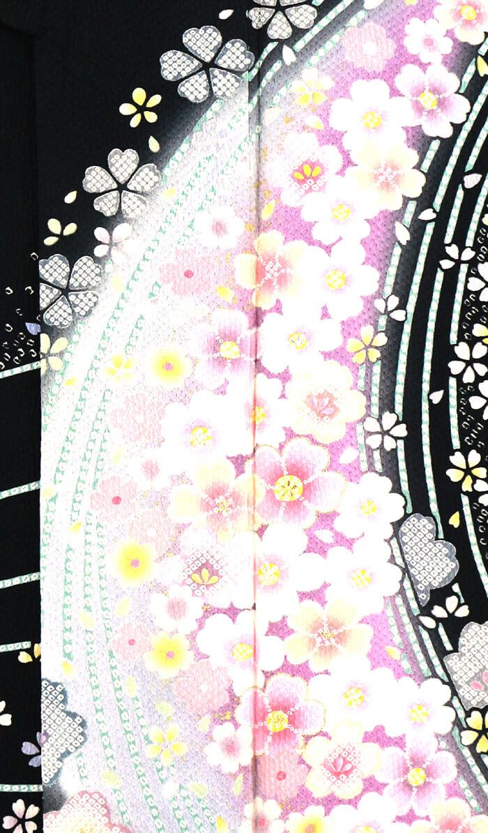 【中古】 忠右衛門 振袖 リサイクル 着物 成人式 結婚式 レディース フォーマル 正絹 ブラック 桜 花柄 裄70cm 送料無料  あす楽対応