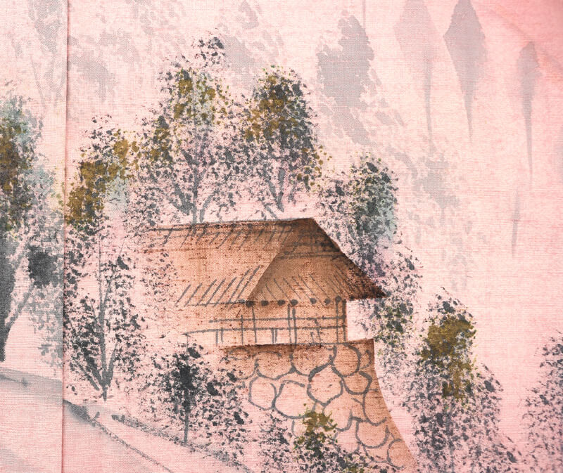 【s1】【中古】 紬付け下げ 正絹 着物 リサイクル アウトレット 染め紬 灰桃 風景柄 素朴 一ツ紋 「花立ち葵」 送料無料 リユース